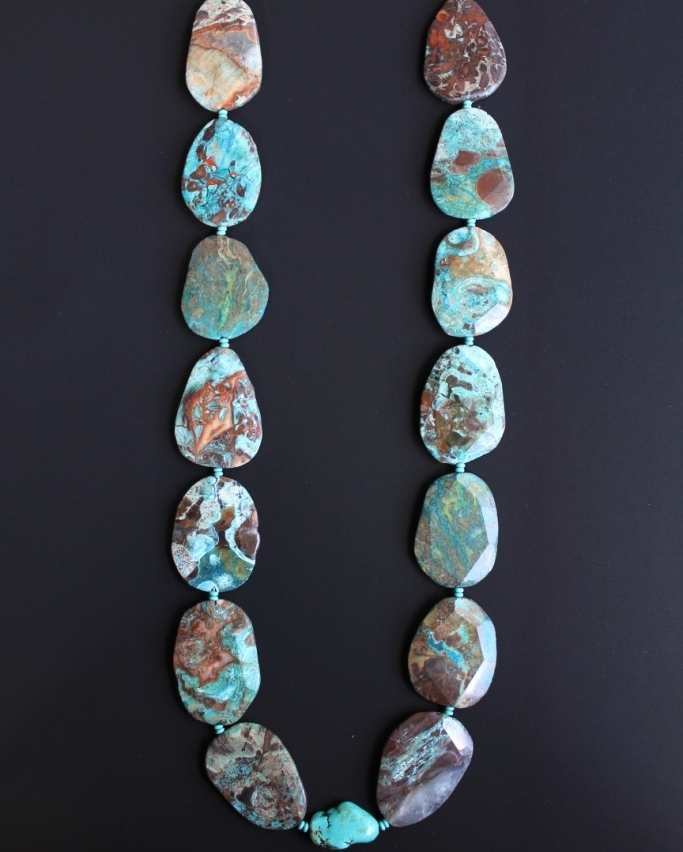 Chrysocolla Free form Nugget Necklace