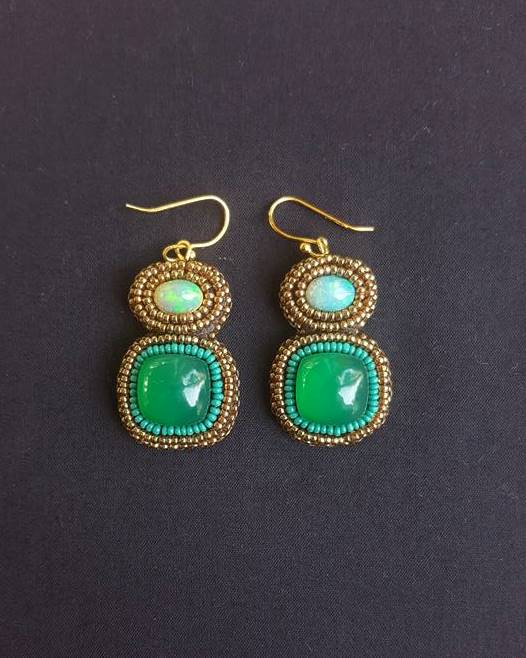 Green Onyx & Ethiopian Opal Earrings