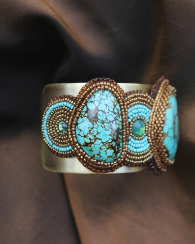 3 Turquoise Cabochons & Crystal Cuff