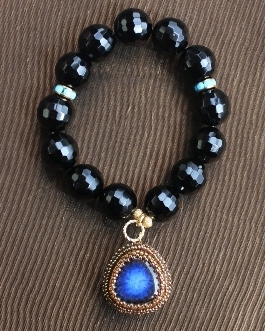 Ceramic Lapis Charm Stretch Bracelet