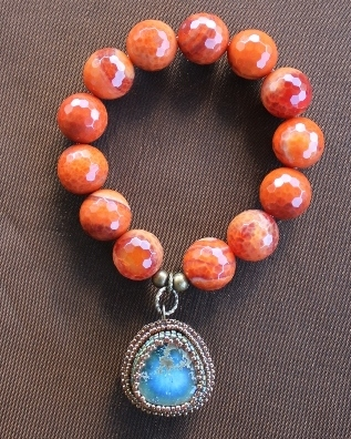 Ceramic Turquoise & Fire Agate Charm Stretch Bracelet