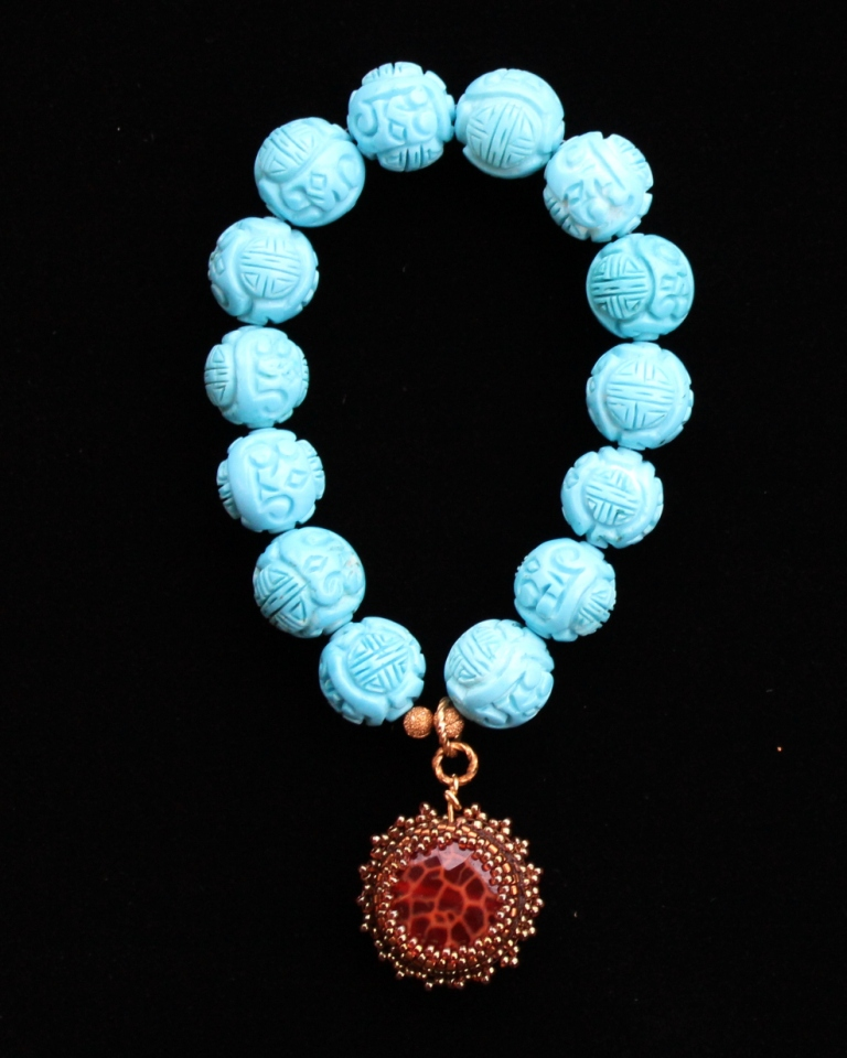 Carved Turquoise and Fire Agate Charm Bracelet
