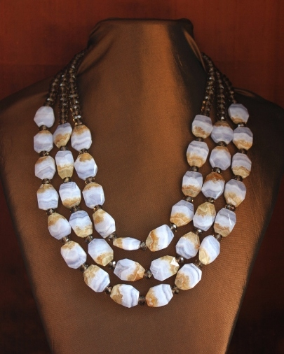 Chalcedony & Smoky Quartz Beads Necklace