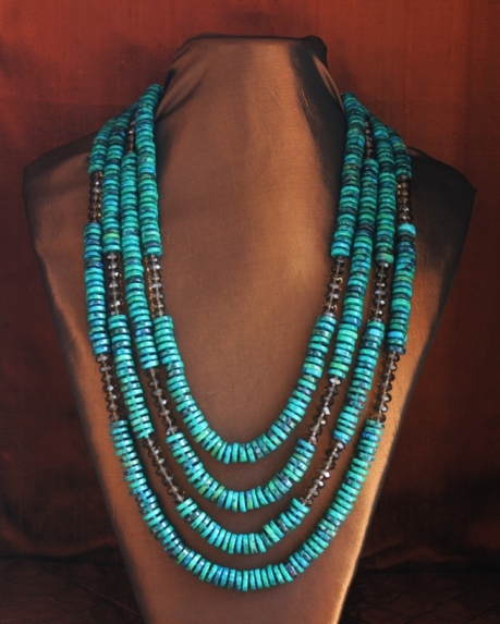 Chrysocolla & Smoky Quartz Necklace