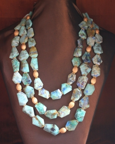 Chrysoprase & Golden Beads Necklace