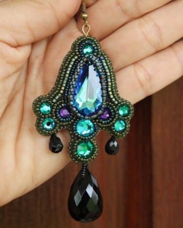Bermuda Blue, Emerald Crystal Teardrop & Black Onyx Earrings