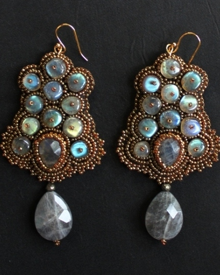 Huge Labradorite Rondelle Earrings 1
