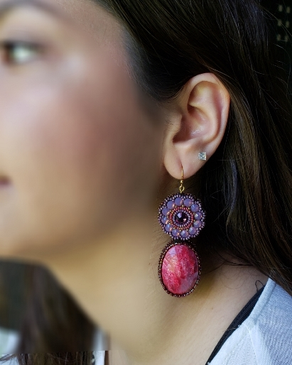 Genuine Ruby & Swarovski Opal Crystal Earrings