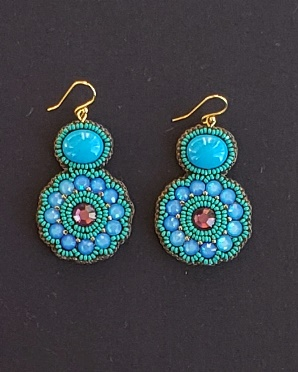 Swarovski Caribbean Blue Opal & Turquoise Jade Earrings
