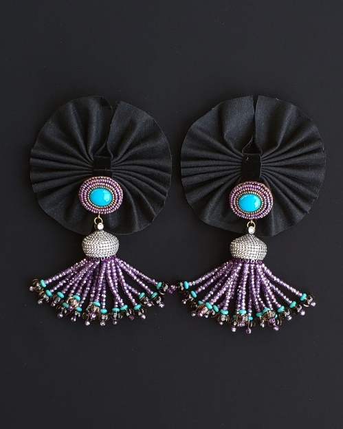 Turquoise Jade, Smoky Quartz and Purple Zirconia Tassle Earrings