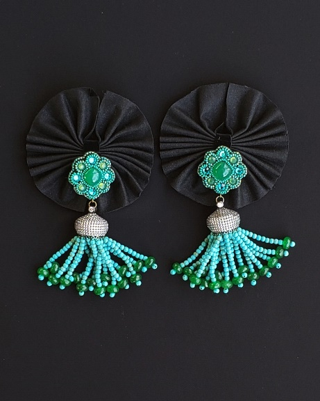 Green Onyx & Turquoise Color Beads Tassel Earrings