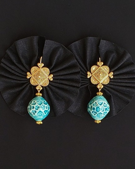 Etruscan Style Turquoise Ceramic Earrings