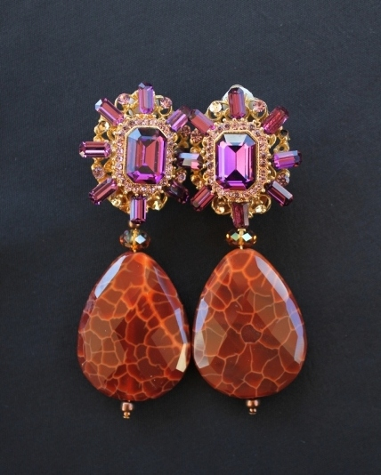 Fire Agate & Amethyst Crystal Earrings