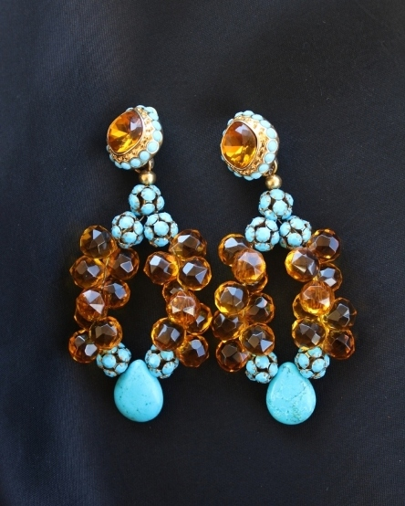 Amber Briolettes & Turquoise Earrings