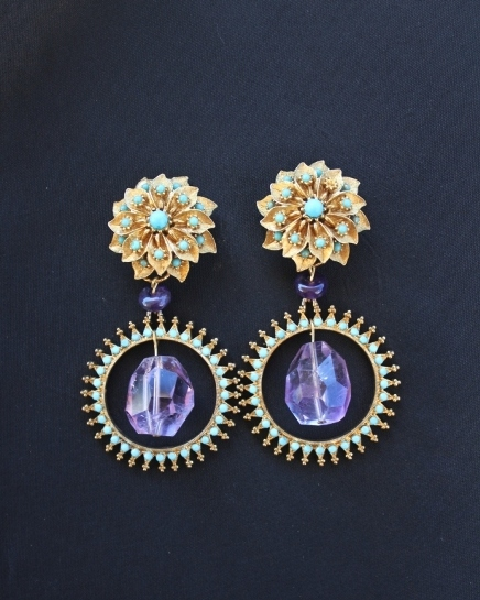 Amethyst Nugget & Turquoise Earrings