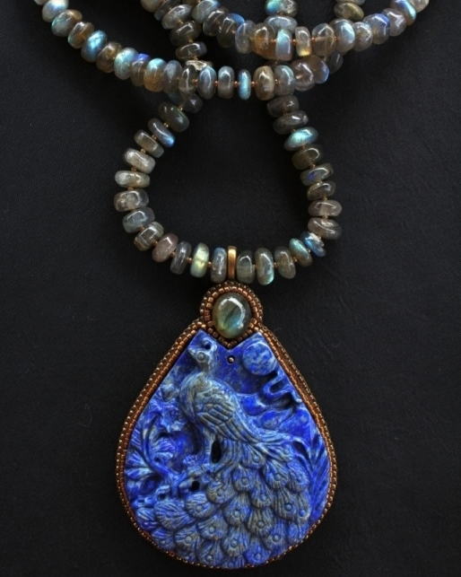 Carved Lapis & Labradorite Necklace