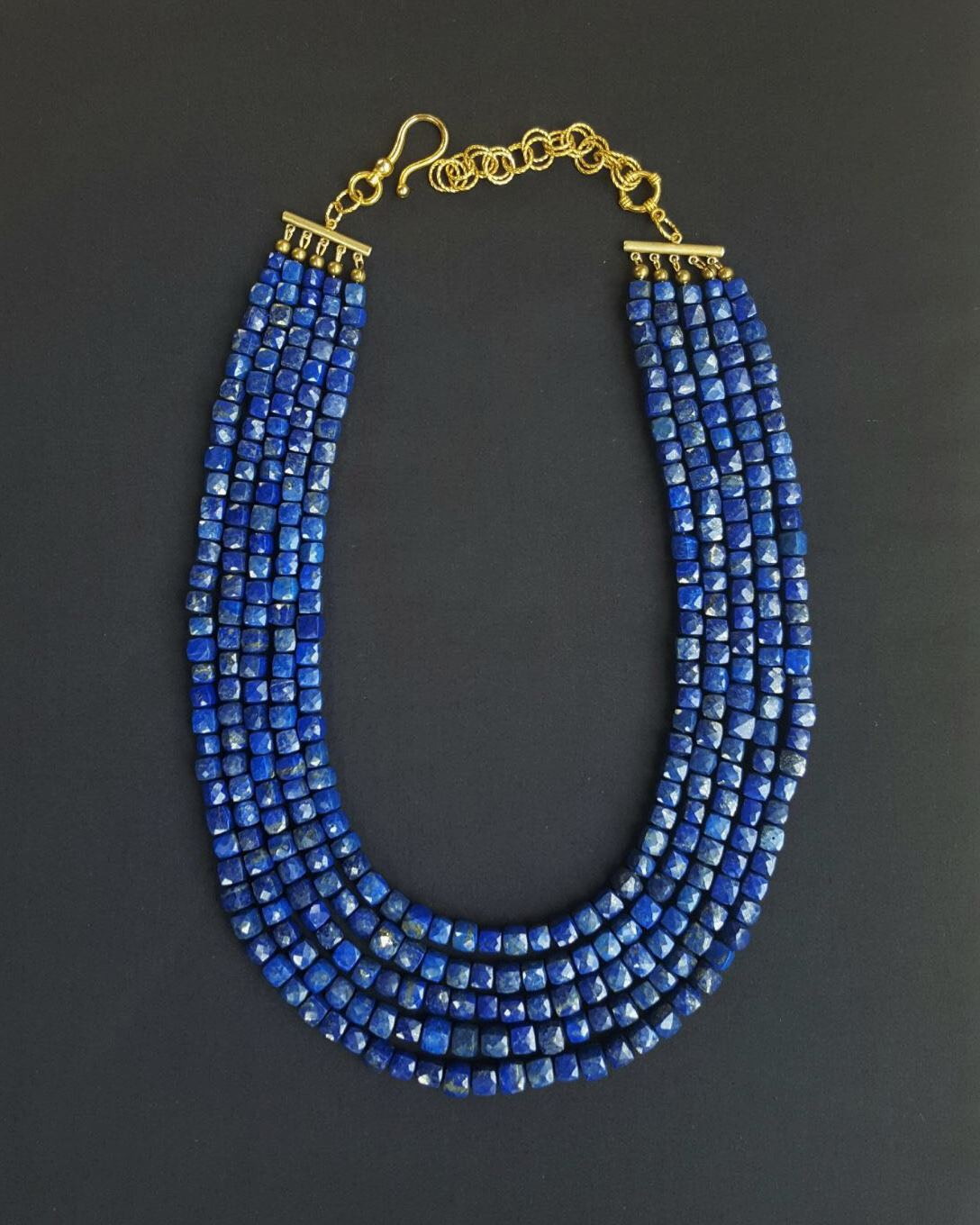 Baj's 5 Strand Lapis Cube Necklace