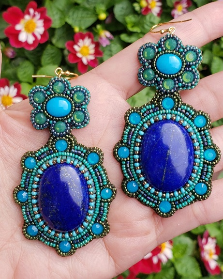 Genuine Lapis and Turquoise Earrings