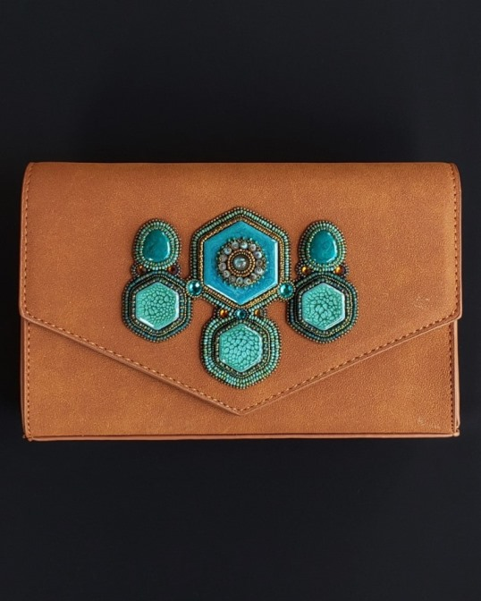 Ceramic Handpainted Turquoise Cabochons Embroidered Handbag