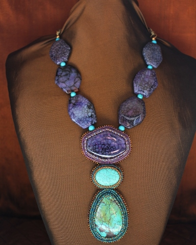 Brazilian Purple Agate, Genuine Turquoise & Howlite Necklace
