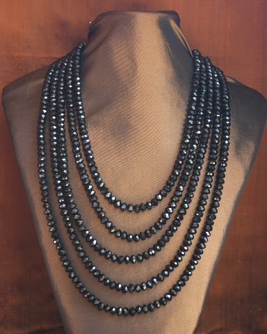 5 Strand Black Crystal Necklace