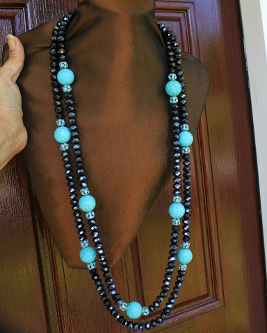 Black Crystals & Howlite 2 Strand Necklace