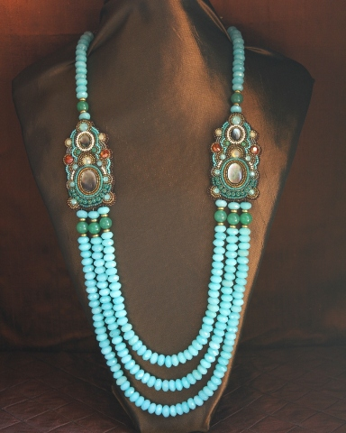 Blue Amazonite & Green Jade 3 Strand Station Necklace