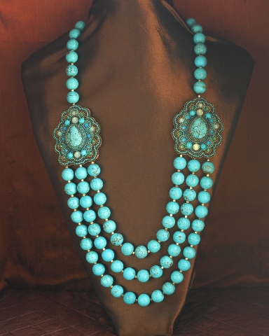 Blue Magnesite 3 Strand Station Necklace