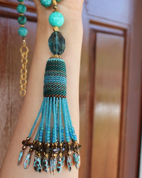 Blue Howlite, Fluorite & Czech Dagger Tassel Necklace
