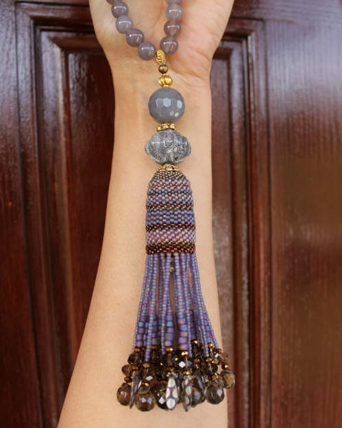 Grey Agate & Smoky Quartz Tassel Necklace
