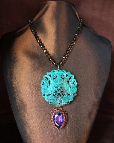 Carved Jade & Amethyst Quartz Teardrop Necklace