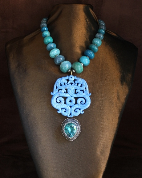 Carved Denim Color Jade, Aqua Quartz & Agate Rondelle Necklace