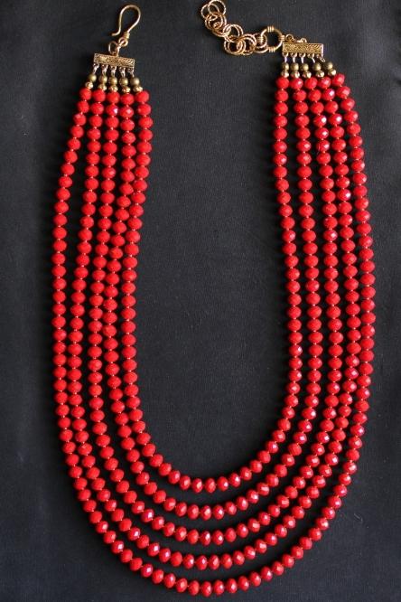 5 Strand Faceted Red Velvet Quartz Necklace