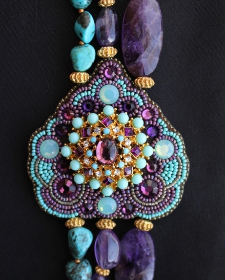 Genuine Amethyst & Turquoise Nugget Necklace