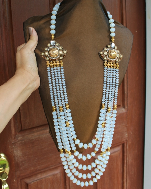 White Opal Glass Crystal Beads 5 Strand Necklace