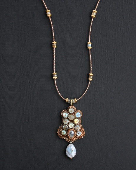 Labradorite Rondelles & Teardrop Long Necklace