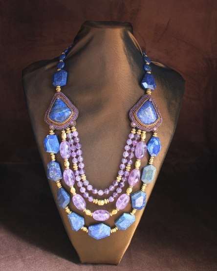 Lapis, Pink Amethyst & Light Purple Amethyst Necklace