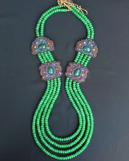 4 Strand Green Agate Double Panel Necklace