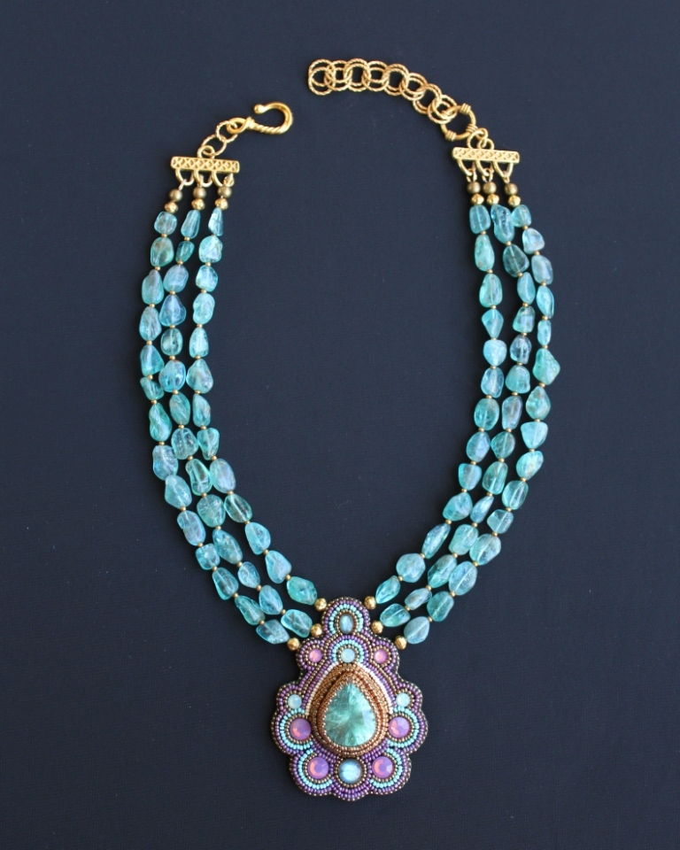 Aqua Quartz & Apatite Nugget Necklace