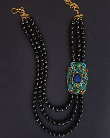 Black Onyx & Ceramic Lapis Side Panel Necklace