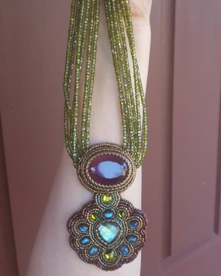 Green Cubic Zirconia Beads, Pink Quartz & Labradorite Necklace