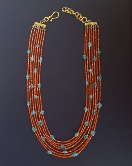 Carnelian Orange Cubic Zirconia & Apatite Nuggets Necklace