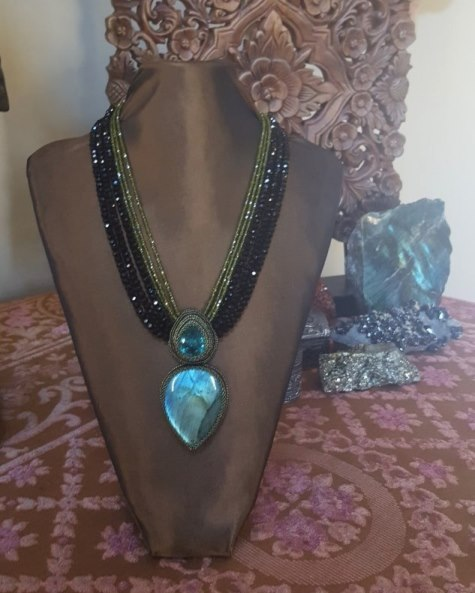 Green Quartz, Labradorite, Olive Green CZ & Black Crystal Neckla