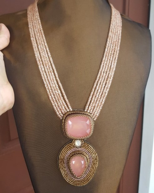 Rose Quartz & Champagne Cubic Zirconia Necklace