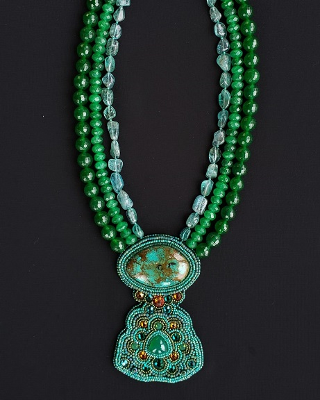 Turquoise, Apatite & Green Agate Necklace