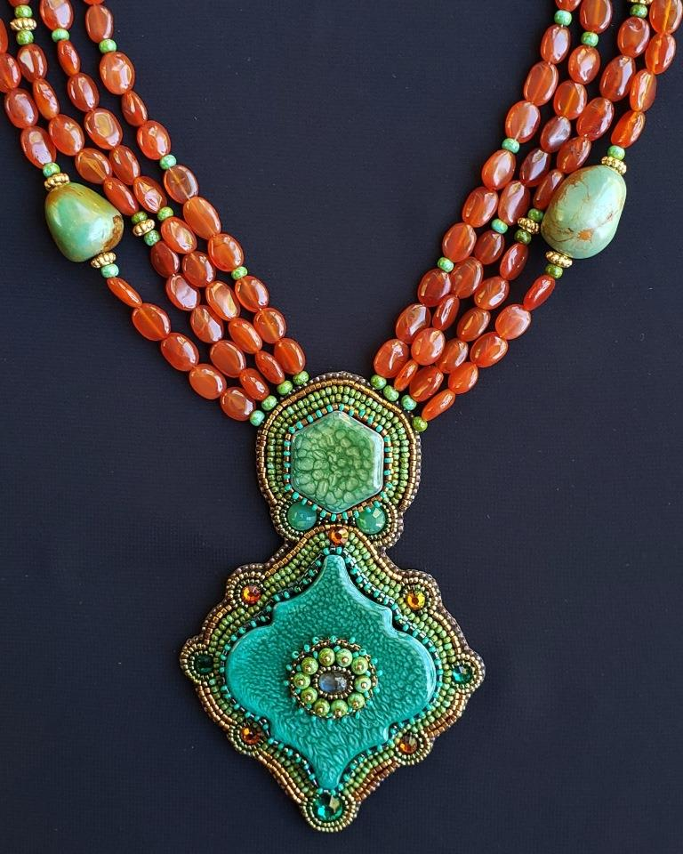 Ceramic Handpainted Tiles, Turquoise Nuggets & Carnelian Necklac