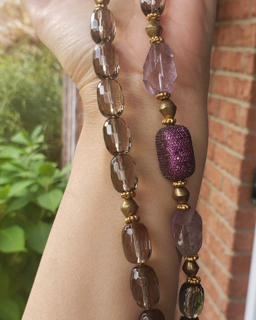 Smoky Quartz, CZ Fuchsia & Pink Amethyst Necklace & Earring Set