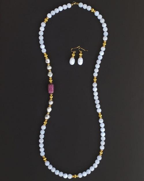 Blue Lace Agate, CZ Fuchsia Necklace & Earrings Set