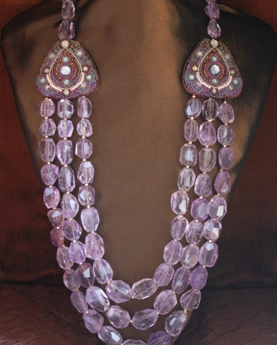 3 Strand Ametrine Nugget Necklace