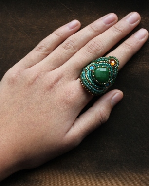 Green Jade Wrap Ring